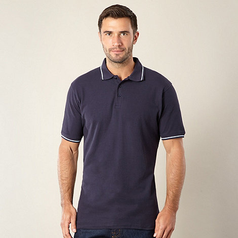 Maine New England - Navy ridged collar pique polo shirt