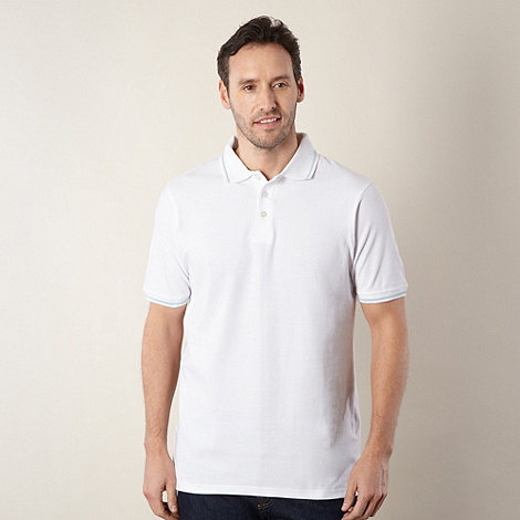 Maine New England - Big and tall white ridged collar pique polo shirt