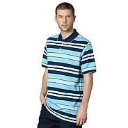 Big and tall turquoise block striped polo shirt