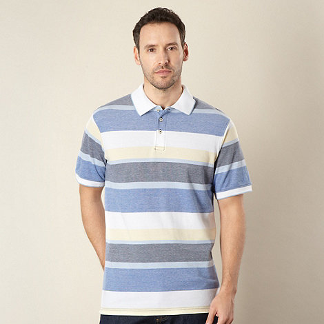 Maine New England - Yellow irregular block striped pique polo shirt