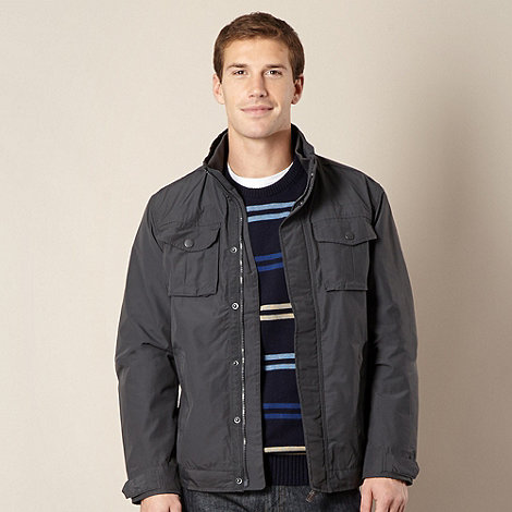 Maine New England - Dark grey shower resistant zip jacket