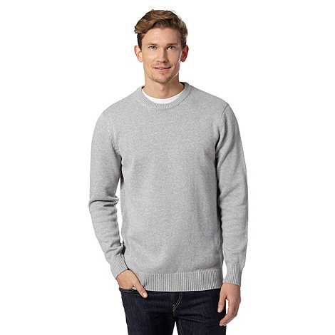 Maine New England - Light grey plain crew neck jumper