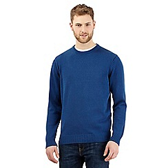 Maine New England - Big and tall royal blue plain ribbed crew neck jumper
