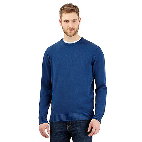 Maine New England - Royal blue plain ribbed crew neck jumper