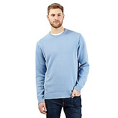 Maine New England - Big and tall pale blue plain ribbed crew neck jumper