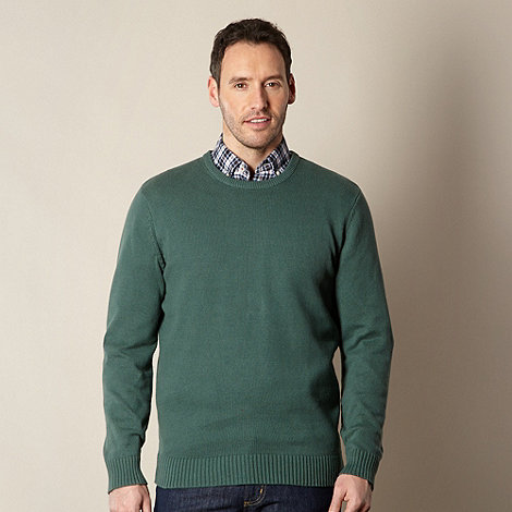 Maine New England - Big and tall dark green plain ribbed crew neck jumper