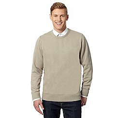Maine New England - Big and tall beige plain ribbed crew neck jumper