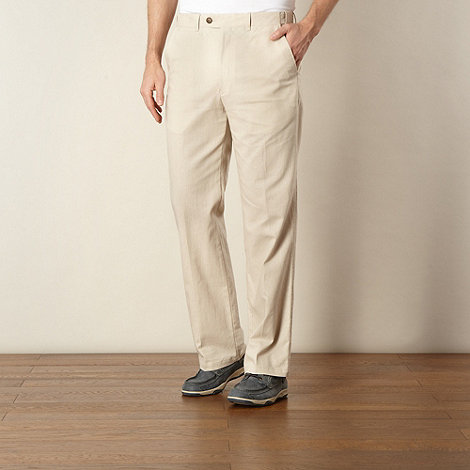 Maine New England - Natural linen blend flat front trousers
