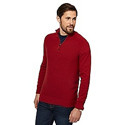 Maine New England - Dark red textured zip neck sweater