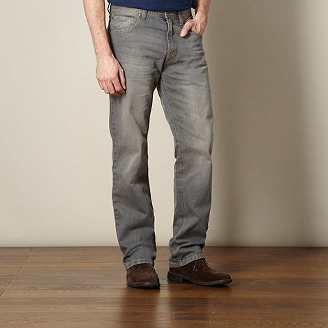 Maine New England - Big and tall grey mid wash straight leg jeans