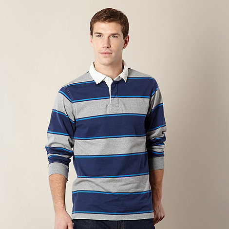 Maine New England - Blue border striped rugby shirt