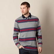 Big and tall grey striped button collar jumper