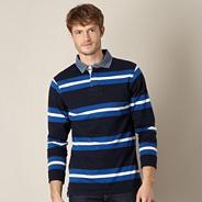 Big and tall navy block striped rugby shirt