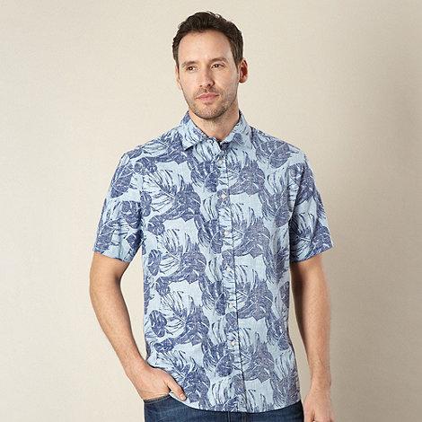 Maine New England - Big and tall light blue linen blend leaf print shirt