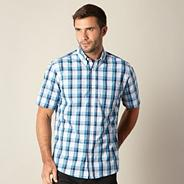 Big and tall dark turquoise bold checked shirt