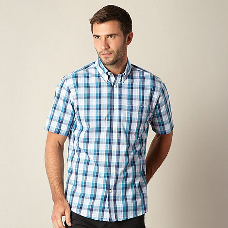 Maine New England - Dark turquoise bold checked shirt