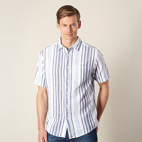 Maine New England - Big and tall navy striped linen blend shirt