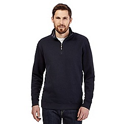 Maine New England - Navy french ribbed zip neck long sleeve top
