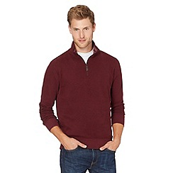 Maine New England - Maroon french ribbed zip neck long sleeve top