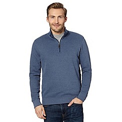 Maine New England - Blue ribbed funnel neck pullover