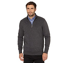 Maine New England - Big and tall dark grey ribbed zip neck jumper