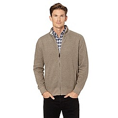 Maine New England - Taupe french ribbed zip through sweatshirt