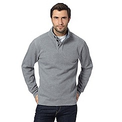 Maine New England - Light grey jersey button neck long sleeve top