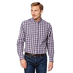 Maine New England - Big and tall purple check button down collar shirt