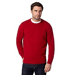 Maine New England - Big and tall red plain ribbed crew neck jumper
