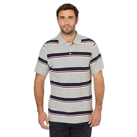 Maine New England - Big and tall grey shadow striped pique polo shirt
