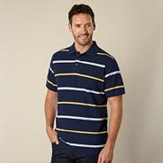 Navy striped pique polo shirt