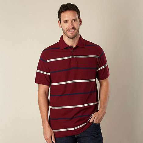 Maine New England - Maroon striped pique polo shirt