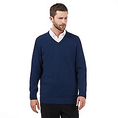 Maine New England - Big and tall dark blue plain v neck jumper