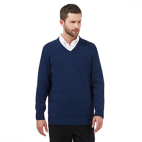Maine New England - Dark blue plain V neck jumper