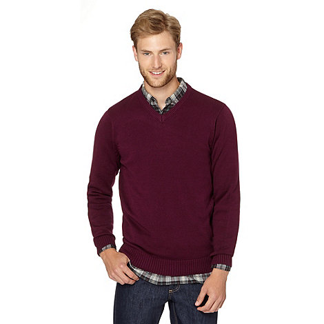 Maine New England - Plum plain V neck jumper