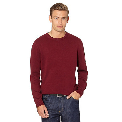 Maine New England - Wine plain crew neck jumper