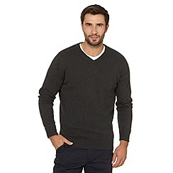 Maine New England - Grey marl plain V neck jumper