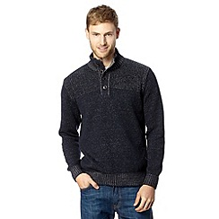 Maine New England - Navy button neck knitted pullover