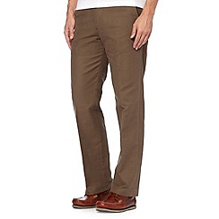 Maine New England - Big and tall taupe moleskin flat front trousers