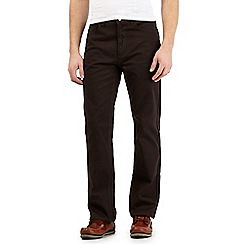 Maine New England - Brown textured straight leg trousers