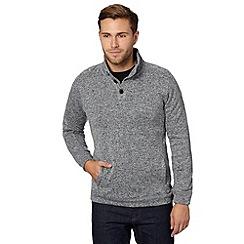 Maine New England - Grey button neck knit look fleece