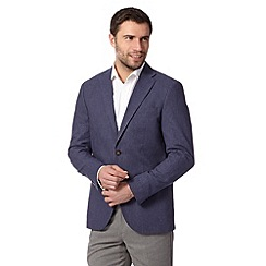 Maine New England - Dark blue linen blend fine striped blazer