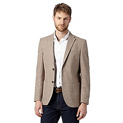 Maine New England - Big and tall taupe textured linen blend blazer
