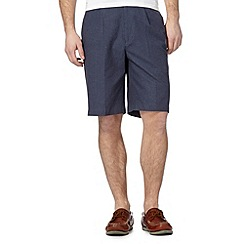 Maine New England - Big and tall mid blue striped chino shorts