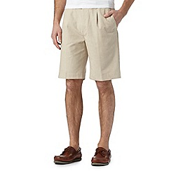Maine New England - Big and tall natural striped linen blend chino shorts