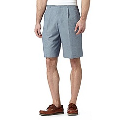 Maine New England - Blue linen blend striped chino shorts