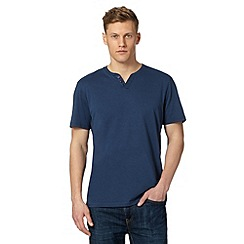 Maine New England - Dark blue open button neck t-shirt