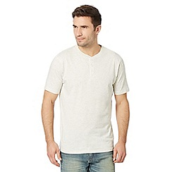 Maine New England - Big and tall dark cream plain henley t-shirt