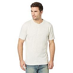 Maine New England - Big and tall dark cream plain henley t-shirt