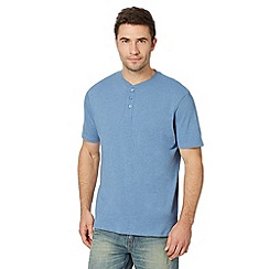Maine New England - Big and tall blue plain henley t-shirt